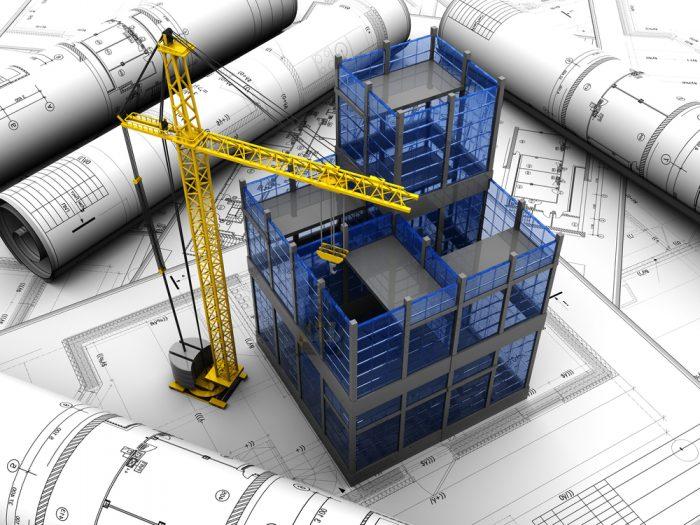 Planos de construcción sobre el que se levanta la estructura de un edificio